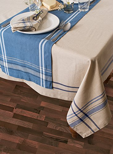 DII 100 Cotton Everyday French Stripe Tabletop Collection 60x84 TaupeBlue 0 0