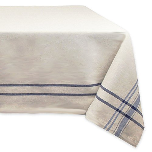 DII 100 Cotton Everyday French Stripe Tabletop Collection 60x84 TaupeBlue 0