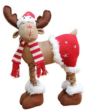 DUOQIN 2020 Personalized Christmas Moose House Ornament Reindeer Plush Rustic Plaid Moose Stuffed Animal Gift Home Ornaments B 0 300x360