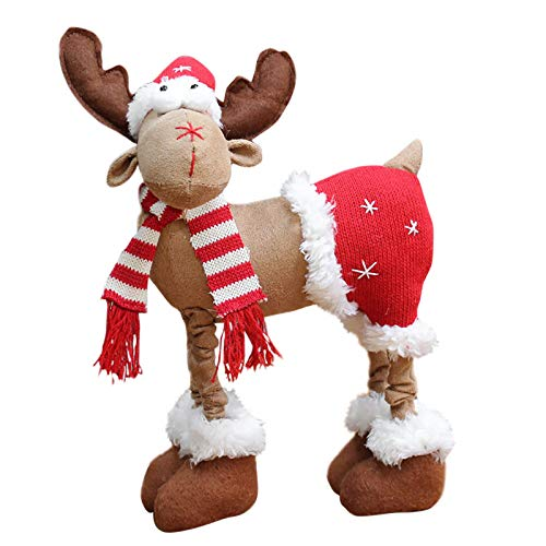 DUOQIN 2020 Personalized Christmas Moose House Ornament Reindeer Plush Rustic Plaid Moose Stuffed Animal Gift Home Ornaments B 0