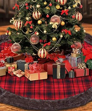 DYD Christmas Tree Skirt 48 Inches Red And Black Buffalo Burlap Plaid With Thick Faux Fur Edge Tree Skirt Rustic Xmas Tree Holiday Decorations 0 300x360