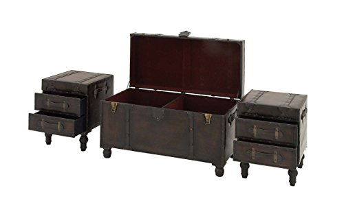 Deco 79 Wood Leather Trunks Set Of 3 361616 0 2