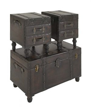 Deco 79 Wood Leather Trunks Set Of 3 361616 0 3 300x360
