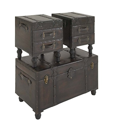 Deco 79 Wood Leather Trunks Set Of 3 361616 0 3