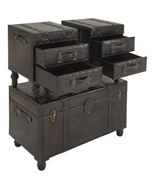 Deco 79 Wood Leather Trunks Set Of 3 361616 0 4 300x360