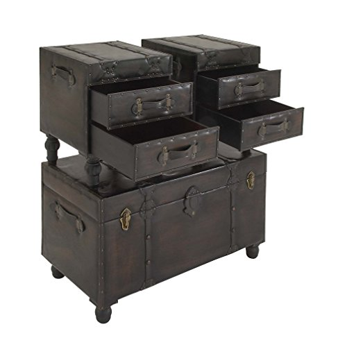 Deco 79 Wood Leather Trunks Set Of 3 361616 0 4