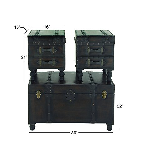 Deco 79 Wood Leather Trunks Set Of 3 361616 0 5