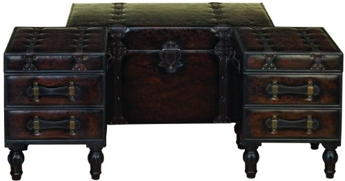 Deco 79 Wood Leather Trunks Set Of 3 361616 0