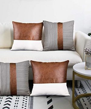 Decorative Throw Pillow Covers 18x18 Inch Faux Leather Stitching Canvas And Black Stripe Pattern Modern Farmhouse Cushion Covers Set Of 4 0 300x360