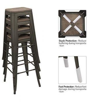 Devoko Metal Bar Stool 30 Indoor Outdoor Stackable Barstools Modern Industrial Square Wood Top Bar Stools Set Of 4 Gun 0 2 300x360