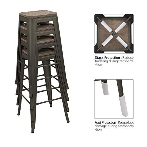 Devoko Metal Bar Stool 30 Indoor Outdoor Stackable Barstools Modern Industrial Square Wood Top Bar Stools Set Of 4 Gun 0 2