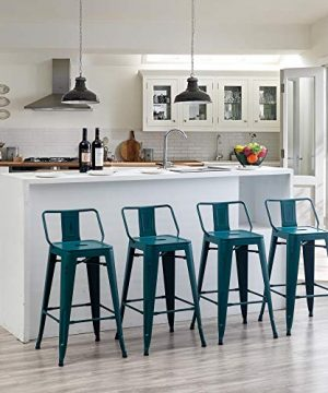 Distressed Bar Stools Set Of 4 Industrial Counter Stools Metal Barstools For Indoor Outdoor 26 Inch Distressed Teal 0 300x360