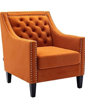 Dolonm Accent Chair With Arms Mid Century Modern Decorative Side Chair Upholstered Reading Chair With Wood Legs Nailhead Studded Wingback Velvet Fabric Chair For Living Room Bedroom Orange Velvet 0 300x360