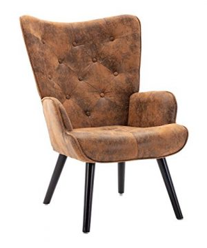 Dolonm Rustic Accent Chair Vintage Wingback Chair Microfiber Cushioned Mid Century Tall Back Desk Chair With Arms Solid Wood Legs For Reading Living Room Bedroom Waiting Room Brown 0 300x360