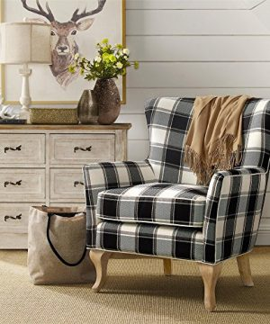 Dorel Living Middlebury Checkered Pattern Accent Chair Black White Checkered 0 300x360