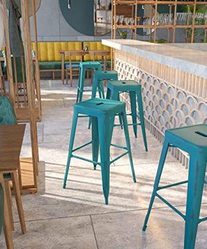 EMMA OLIVER Commercial 30 H Backless Distressed Blue Teal Metal Indoor Outdoor Barstool 0 300x360