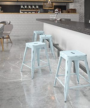 EMMA OLIVER Commercial Grade 24 H Backless Distressed Green Blue Metal Indoor Outdoor Stool 0 300x360