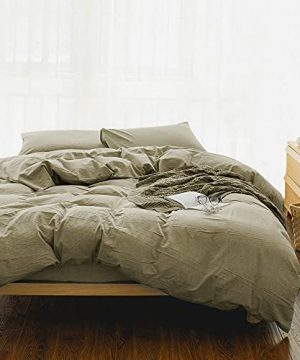 EMME Queen Duvet Cover 3 Piece Soft Cotton Bedding Collection Comforter Cover Full Size With 2 Pillow Shams Solid Color Button Closure Corner Ties Khaki FullQueen 0 300x360