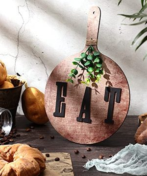 Eat Sign Farmhouse Kitchen Decor Wooden Eat Sign With Paddle Hanging Rustic Eat Letters Cutout Decorative Rustic Eat Farmhouse Wall Decor For Home Kitchen Cabinets Dining Living Room Restaurant Cafe 0 300x360
