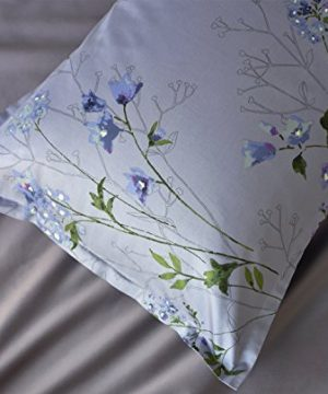 Eikei Vintage Botanical Flower Print Bedding 400tc Cotton Sateen Romantic Floral Scarf Duvet Cover 3pc Set Colorful Antique Drawing Of Summer Lilies Daisy Blossoms King Dusty Blue 0 2 300x360