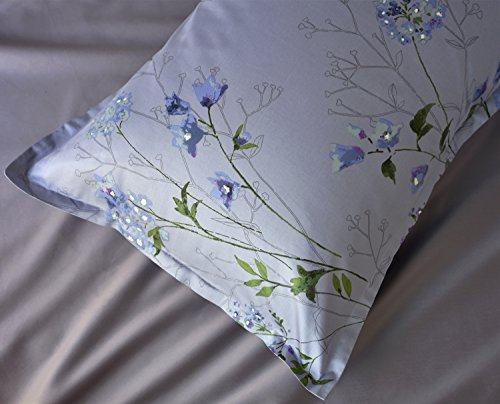 Eikei Vintage Botanical Flower Print Bedding 400tc Cotton Sateen Romantic Floral Scarf Duvet Cover 3pc Set Colorful Antique Drawing Of Summer Lilies Daisy Blossoms King Dusty Blue 0 2