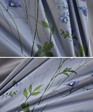 Eikei Vintage Botanical Flower Print Bedding 400tc Cotton Sateen Romantic Floral Scarf Duvet Cover 3pc Set Colorful Antique Drawing Of Summer Lilies Daisy Blossoms King Dusty Blue 0 3 300x360