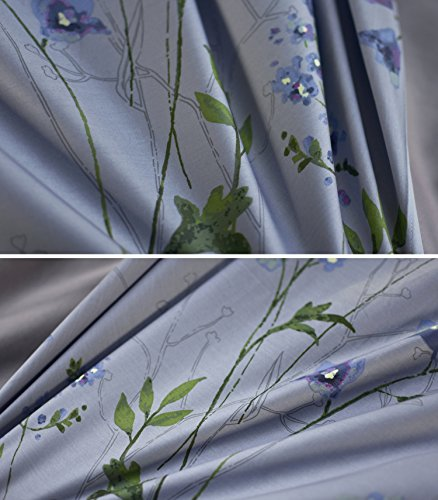 Eikei Vintage Botanical Flower Print Bedding 400tc Cotton Sateen Romantic Floral Scarf Duvet Cover 3pc Set Colorful Antique Drawing Of Summer Lilies Daisy Blossoms King Dusty Blue 0 3
