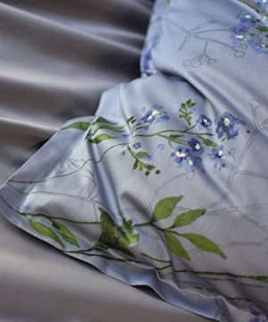 Eikei Vintage Botanical Flower Print Bedding 400tc Cotton Sateen Romantic Floral Scarf Duvet Cover 3pc Set Colorful Antique Drawing Of Summer Lilies Daisy Blossoms King Dusty Blue 0 4 300x360
