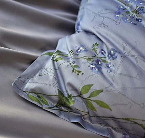 Eikei Vintage Botanical Flower Print Bedding 400tc Cotton Sateen Romantic Floral Scarf Duvet Cover 3pc Set Colorful Antique Drawing Of Summer Lilies Daisy Blossoms King Dusty Blue 0 4