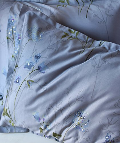Eikei Vintage Botanical Flower Print Bedding 400tc Cotton Sateen Romantic Floral Scarf Duvet Cover 3pc Set Colorful Antique Drawing Of Summer Lilies Daisy Blossoms King Dusty Blue 0 5