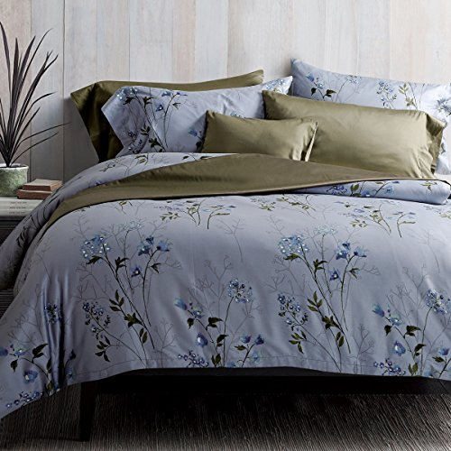 Eikei Vintage Botanical Flower Print Bedding 400tc Cotton Sateen Romantic Floral Scarf Duvet Cover 3pc Set Colorful Antique Drawing Of Summer Lilies Daisy Blossoms King Dusty Blue 0