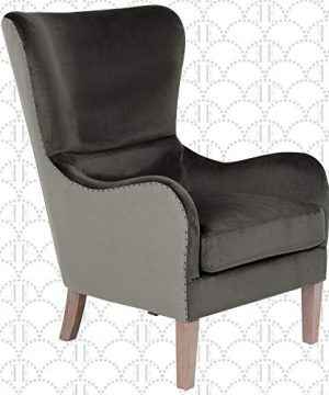Elle Decor Wingback Upholstered Accent Chair Farmhouse Armchair For Living Room Two Toned Dark Gray 0 300x360