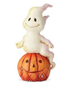 Enesco Jim Shore Heartwood Creek Halloween Ghost And Pumpkin Miniature Figurine 394 Inch Multicolor 0 300x360