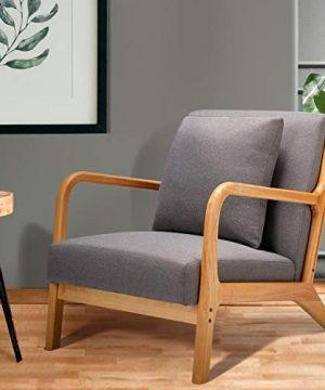Esright Mid Century Accent Chair Wooden Modern Living Room Fabric Arm Chair Accent Chair With Arm Gray 0 0 300x360
