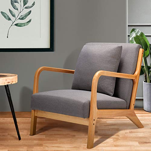Esright Mid Century Accent Chair Wooden Modern Living Room Fabric Arm Chair Accent Chair With Arm Gray 0 0