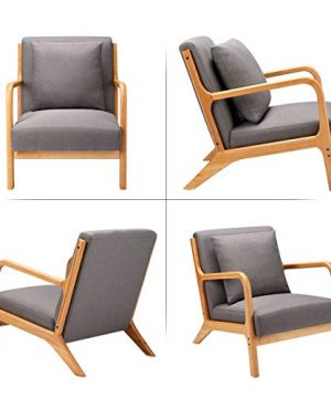 Esright Mid Century Accent Chair Wooden Modern Living Room Fabric Arm Chair Accent Chair With Arm Gray 0 2 300x360
