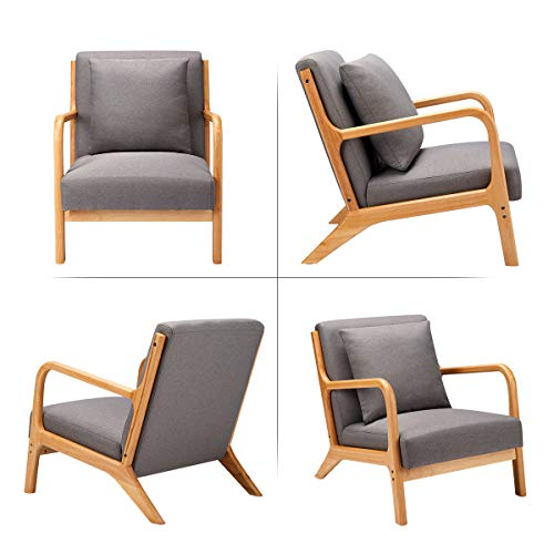 Esright Mid Century Accent Chair Wooden Modern Living Room Fabric Arm Chair Accent Chair With Arm Gray 0 2