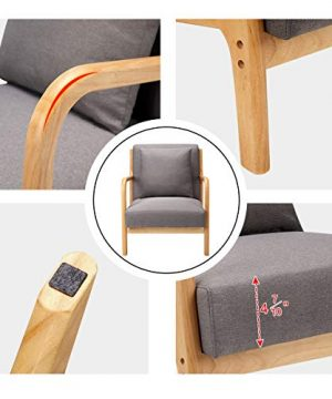 Esright Mid Century Accent Chair Wooden Modern Living Room Fabric Arm Chair Accent Chair With Arm Gray 0 3 300x360
