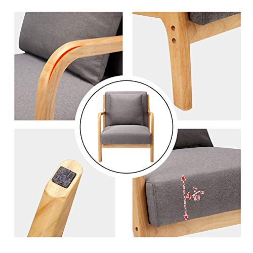 Esright Mid Century Accent Chair Wooden Modern Living Room Fabric Arm Chair Accent Chair With Arm Gray 0 3