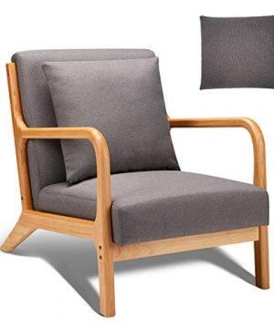 Esright Mid Century Accent Chair Wooden Modern Living Room Fabric Arm Chair Accent Chair With Arm Gray 0 300x360