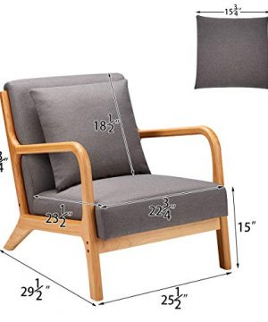 Esright Mid Century Accent Chair Wooden Modern Living Room Fabric Arm Chair Accent Chair With Arm Gray 0 4 300x360