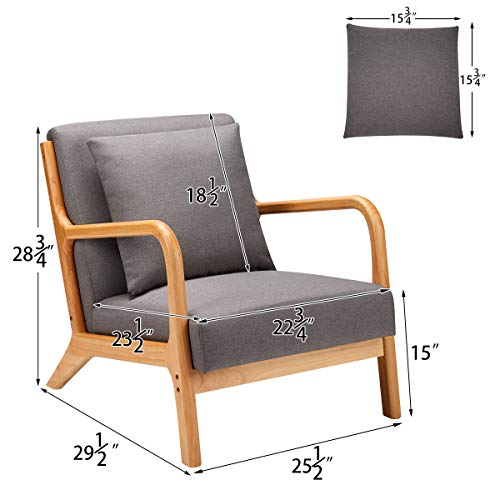 Esright Mid Century Accent Chair Wooden Modern Living Room Fabric Arm Chair Accent Chair With Arm Gray 0 4