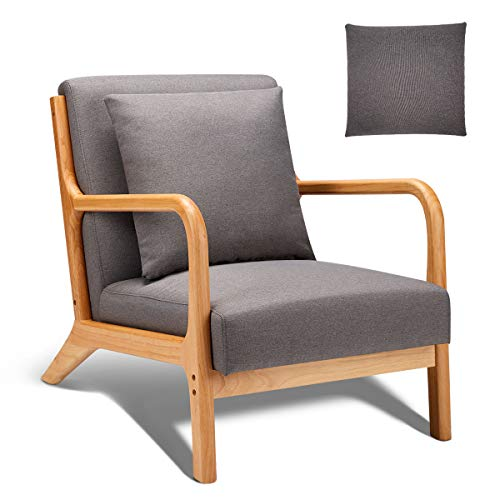 Esright Mid Century Accent Chair Wooden Modern Living Room Fabric Arm Chair Accent Chair With Arm Gray 0