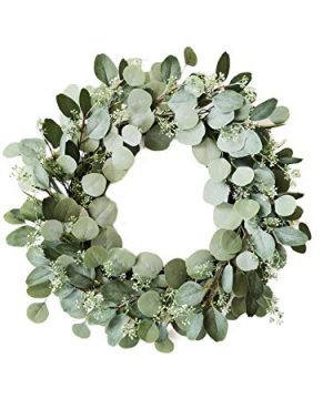 Eucalyptus Wreath With Lights 23 Inch Battery Operated 80 LED Lights Artificial Leaves With Seeded Flowers Green Velvet Ribbon SummerAutumn Front Door Decor Timer And Batteries Included 0 300x360