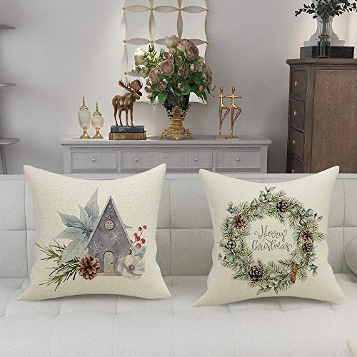 FIBEROMANCE Christmas Pillow Covers 18x18 Inch Set Of 4 Candi Garland Farmhouse Decorative Throw Pillow Cover Christmas Decor Xmas Decorations Winter Holiday Pillows Cushion Case For Home 0 1