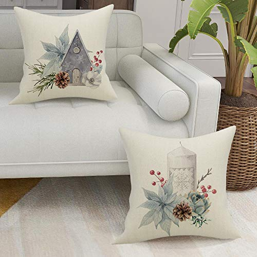 FIBEROMANCE Christmas Pillow Covers 18x18 Inch Set Of 4 Candi Garland Farmhouse Decorative Throw Pillow Cover Christmas Decor Xmas Decorations Winter Holiday Pillows Cushion Case For Home 0 2