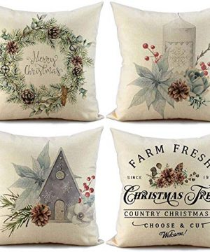 FIBEROMANCE Christmas Pillow Covers 18x18 Inch Set Of 4 Candi Garland Farmhouse Decorative Throw Pillow Cover Christmas Decor Xmas Decorations Winter Holiday Pillows Cushion Case For Home 0 300x360