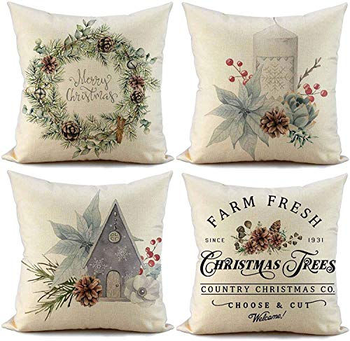 FIBEROMANCE Christmas Pillow Covers 18x18 Inch Set Of 4 Candi Garland Farmhouse Decorative Throw Pillow Cover Christmas Decor Xmas Decorations Winter Holiday Pillows Cushion Case For Home 0