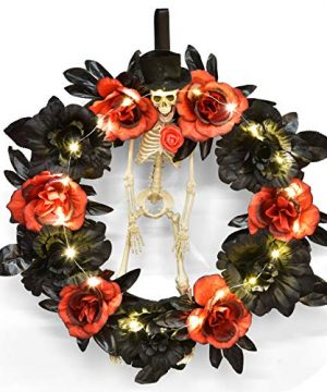 FUN LITTLE TOYS 22 Inch Fall Wreath Halloween Ghost Bide Happy Halloween Wreath For Front Door Halloween Lights And Gothic Skeleton Decorations 0 300x360