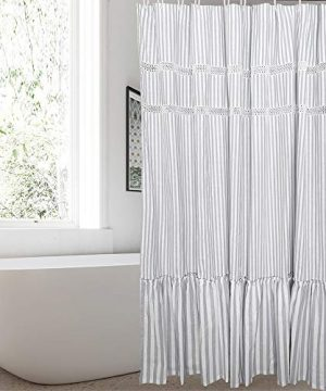 Fabric Shower Curtain Eastern Heavy Duty Cotton Bathroom Shower Curtains With Lace Trims And Ruffled Bottom For Spa Hotel Luxury Stripe Decorative Shower Curtains 72 X 72 Inches White Gray 0 0 300x360